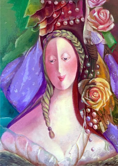 Marine Zuloyan, Paintings - Women, LADY WITH ROSES, (PASTORAL LOVE)