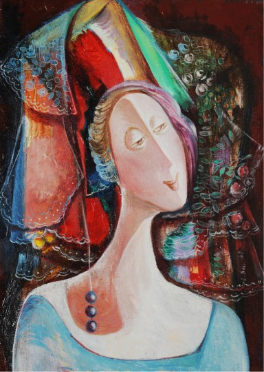 Marine Zuloyan, Paintings - Women, LADY IN BLUE