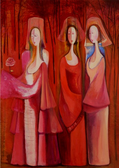 Marine Zuloyan, Paintings - Women, IN RED FOREST