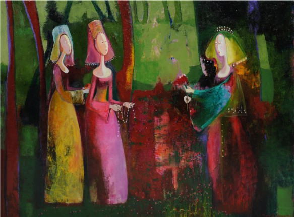 Marine Zuloyan, Paintings - Women, BRIDE WITH MAIDS