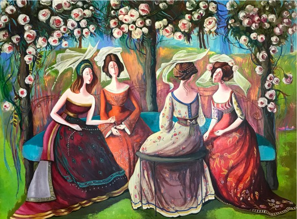 Marine Zuloyan, Paintings - Women, AFTERNOON IN THE GARDEN
