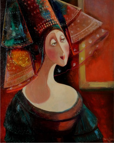 Marine Zuloyan, Paintings - Women, LADY WITH A VEIL